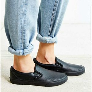 vans classic slip on black perforated leather